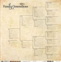 Bazzill Basic Paper - 12x12 CardstockHeritage - Generations Chart/Ticking